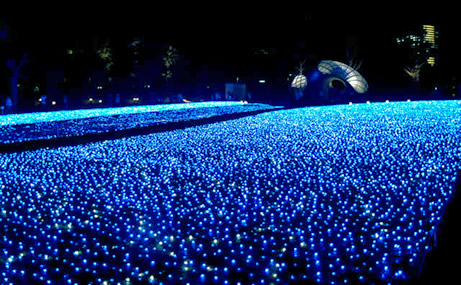 Sea of neon blue lights