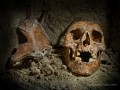 A human skull found deep in the catacombs under the streets of Paris.